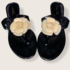 Chanel Camelia Black Jelly Flip Flop Sandals